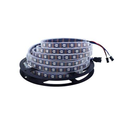 Світлодіодна стрічка, IP67, RGB, SMD 5050, WS 2815, з управлінням, чорна, 12 В, 60 д м, 1 м